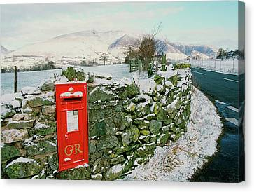 Old Wall Canvas Print - Post Box In St Johns In The Vale by Ashley Cooper