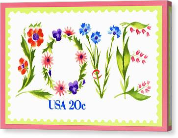 Postage Stamp Love Canvas Print by Carol Leigh