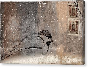 Postcard Chickadee In The Snow Canvas Print by Carol Leigh