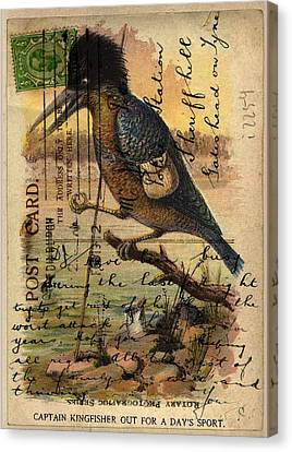 Postcard Kingfisher Canvas Print by Sarah Vernon