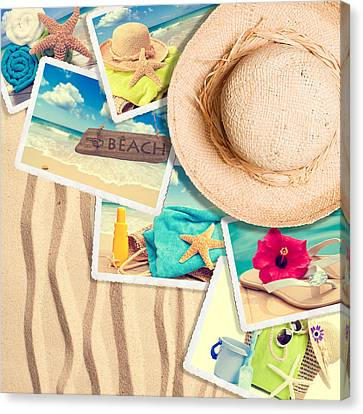 Postcards In The Sand Canvas Print by Amanda Elwell