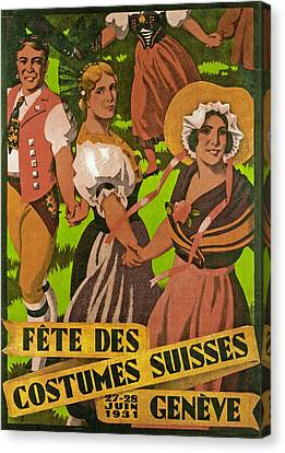Poster Advertising F?te Des Costumes Canvas Print by Jules Courvoisier