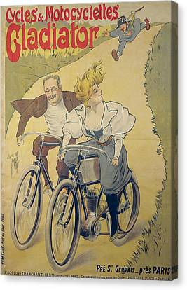 Poster Advertising Gladiator Bicycles And Motorcycles Canvas Print by Ferdinand Misti-Mifliez