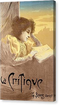Poster Advertising La Critique Canvas Print by Ferdinand Misti Mifliez