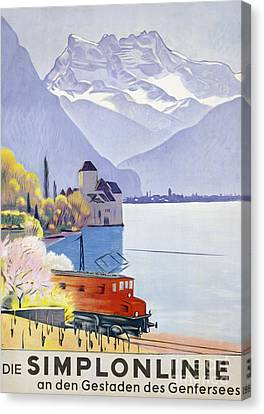 Poster Advertising Rail Travel Around Lake Geneva Canvas Print by Emil Cardinaux