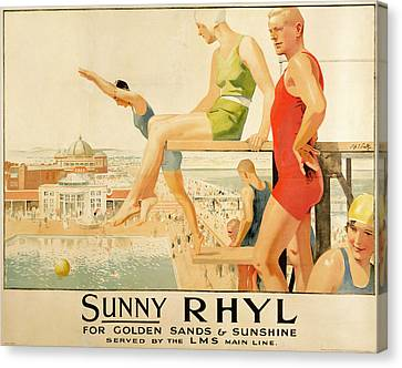 Graphic Canvas Print - Poster Advertising Sunny Rhyl  by Septimus Edwin Scott