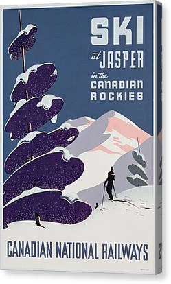 Jet Set Canvas Print - Poster Advertising The Canadian Ski Resort Jasper by Canadian School