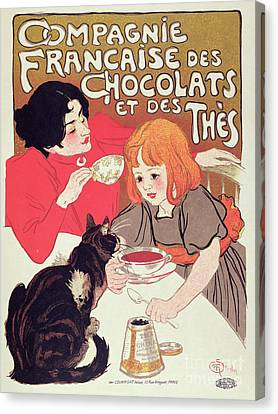 Poster Advertising The Compagnie Francaise Des Chocolats Et Des Thes Canvas Print by Theophile Alexandre Steinlen