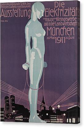 Poster Advertising The Electricity Exhibition Canvas Print by Paul Neu