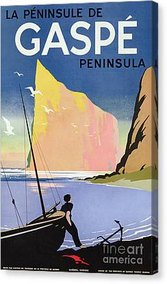 Poster Advertising The Gaspe Peninsula Quebec Canada Canvas Print by Canadian School