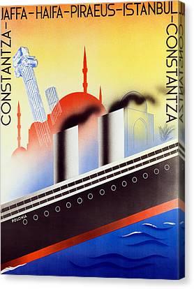 Poster Advertising The Polish Palestine Line Canvas Print by Zygmunt Glinicki