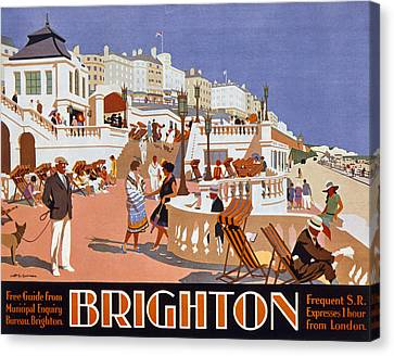 Beach Scenes Canvas Print - Poster Advertising Travel To Brighton by Henry George Gawthorn