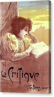 Poster For Le Journal La Critique. Ferdinand Mifliez Canvas Print by Liszt Collection