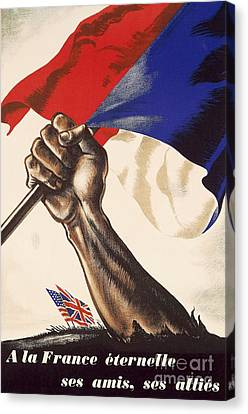 Poster For Liberation Of France From World War II 1944 Canvas Print by Anonymous