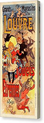 Toy Shop Canvas Print - Poster For Magasins Du Louvre. Chéret, Jules 1836-1932 by Liszt Collection