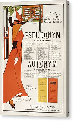 Poster For 'the Pseudonym And Autonym Libraries' Canvas Print by Aubrey Beardsley