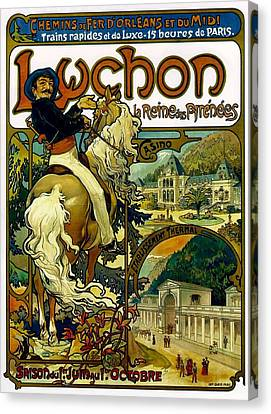 Poster For Trains To Luchon Canvas Print by Alphonse Marie Mucha