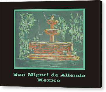 Poster - Green Fountain Canvas Print by Marcia Meade