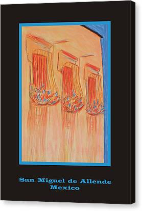 Poster - Orange Balconies Canvas Print by Marcia Meade