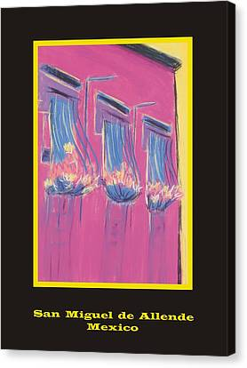 Poster - Pink Balconies Canvas Print by Marcia Meade