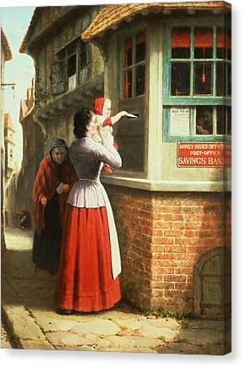 Posting A Letter, 1879 Canvas Print by Frederick Daniel Hardy