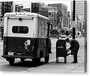 Canvas Print featuring the photograph Postman by Tom Brickhouse