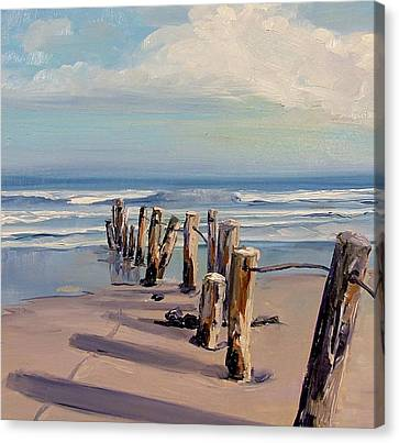 Posts Just Touch The Water Canvas Print by Dianna Poindexter