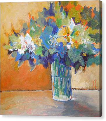 Posy In Orange And Blue Canvas Print by Susanne Clark