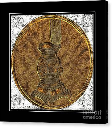 Pot-belly Stove - Brass Etching Canvas Print