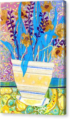Pot Of Blue Canvas Print by Diane Fine