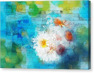 Pot Of Daisies 02 - J3327100-bl1t22a Canvas Print by Variance Collections