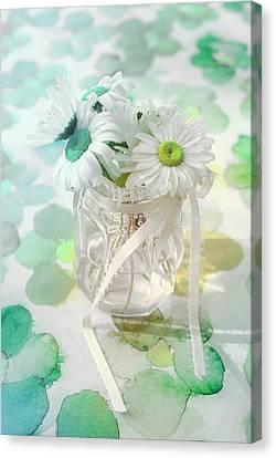 Pot Of Daisies 03s29a - Du Bonheur En Pot Canvas Print by Variance Collections