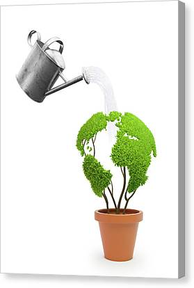 Pot Plant In Shape Of Earth Being Watered Canvas Print by Andrzej Wojcicki