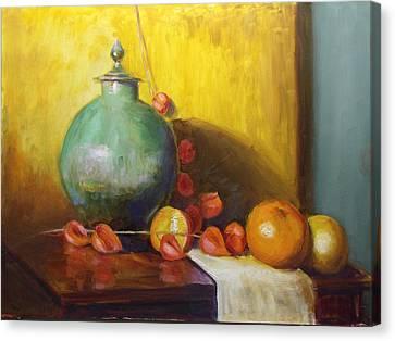 Pot With Fruit Canvas Print
