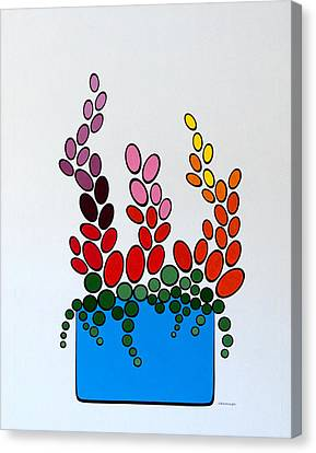 Potted Blooms - Blue Canvas Print