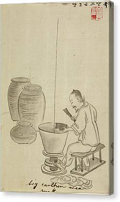 Ceramic Bowl Canvas Print - Potter Making Jars On A Kick Wheel by British Library