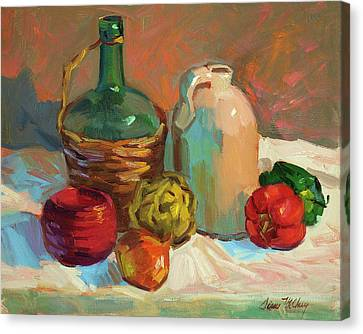 Pottery And Vegetables Canvas Print by Diane McClary