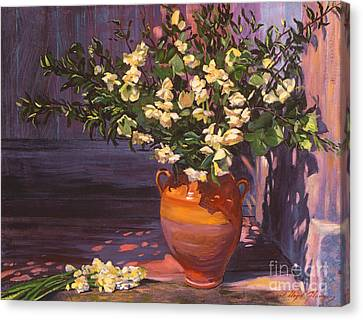 Pottery Flower Jug Canvas Print by David Lloyd Glover