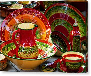 Pottery For Sale At A Market Stall Canvas Print by Panoramic Images