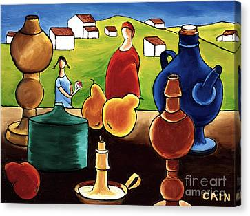 Pottery Still Life Canvas Print by William Cain