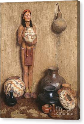 Native American Clothes Canvas Print - Pottery Vendor by Celestial Images