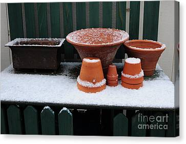 Canvas Print featuring the photograph Potting Bench In Snow 11 by Vinnie Oakes