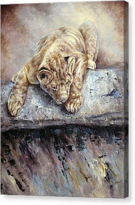 Canvas Print featuring the painting Pounce by Mary McCullah