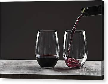 Red Wine Splash Canvas Print - Pouring Red Wine by Justin Paget