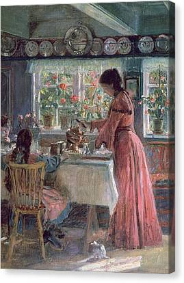 Pouring The Morning Coffee Canvas Print by Laurits Regner Tuxen