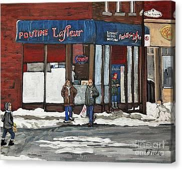 Poutine Lafleur On Wellington Canvas Print by Reb Frost