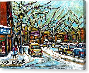 Poutine Lafleur Verdun Winter City Scenes Montreal Art Urban Snowscene Best Canadian Paintings  Canvas Print by Carole Spandau