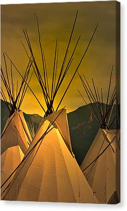 Pow Wow Camp At Sunrise Canvas Print