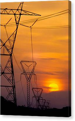 Power Lines At Sunset Canvas Print by David and Carol Kelly