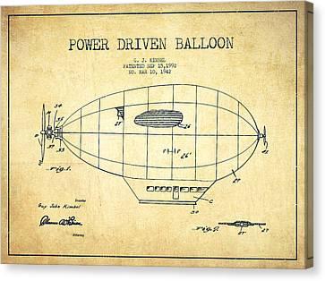 Power Driven Balloon Patent-vintage Canvas Print
